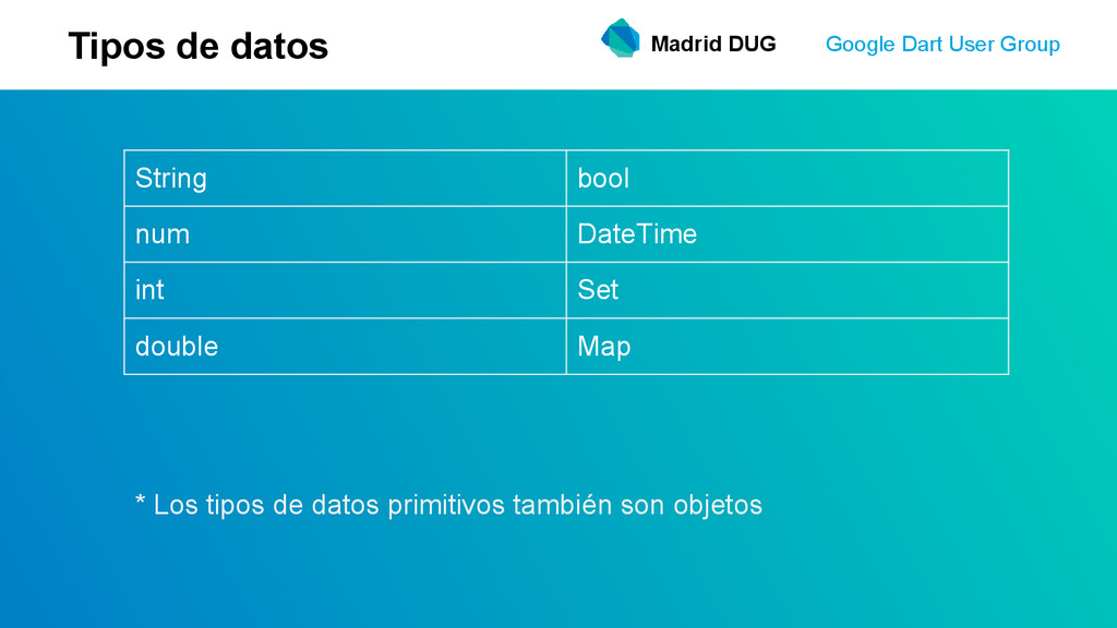 Madrid DUG Google Dart User Group Tipos de dato...