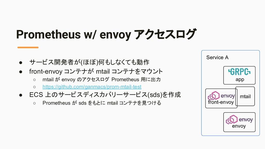 Prometheus w/ envoy アクセスログ ● サービス開発者が(ほぼ)何もしなくて...
