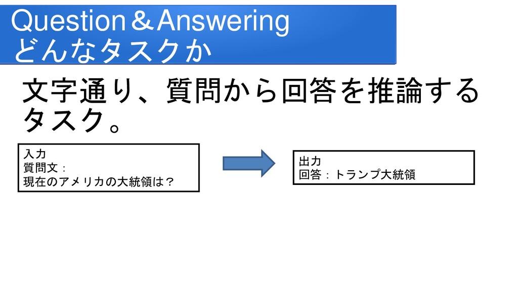 Question&Answering どんなタスクか 文字通り、質問から回答を推論する タスク...