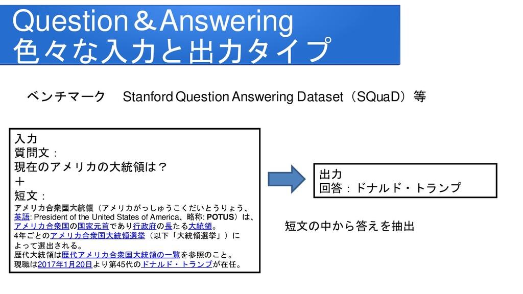 ベンチマーク Stanford Question Answering Dataset(SQua...