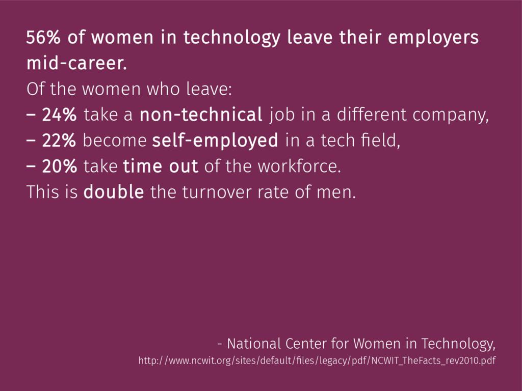 56% of women in technology leave their employer...