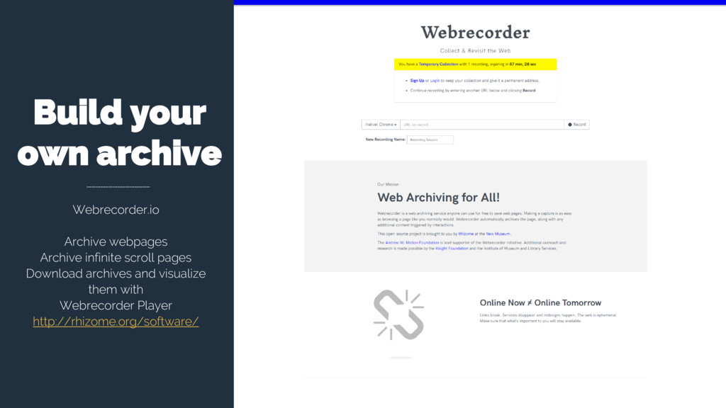 Build your own archive Webrecorder.io Archive w...