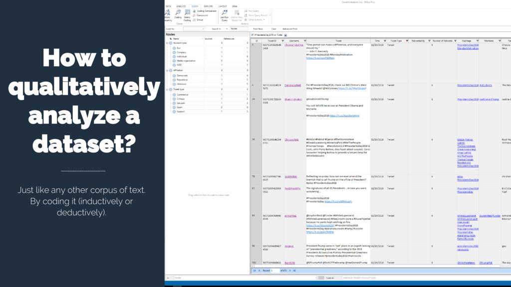 How to qualitatively analyze a dataset? Just li...