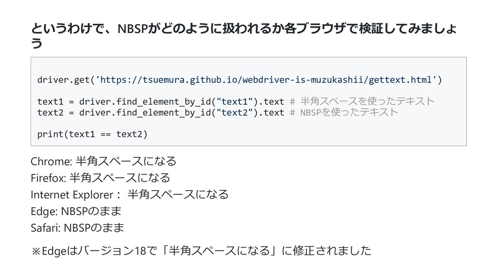 というわけで、NBSPがどのように扱われるか各ブラウザで検証してみましょ う driver.g...