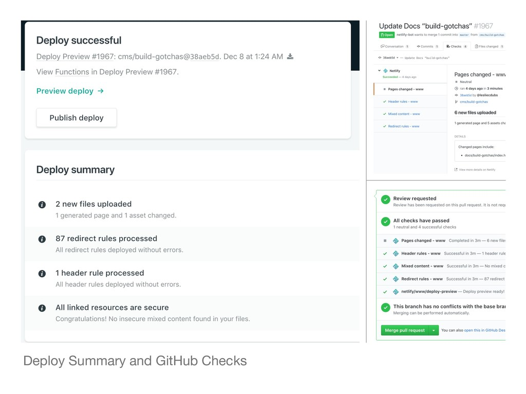 Deploy Summary and GitHub Checks