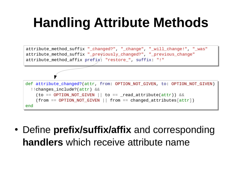 Handling Attribute Methods ● Define prefix/suff...