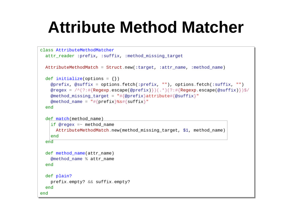 Attribute Method Matcher class AttributeMethodM...