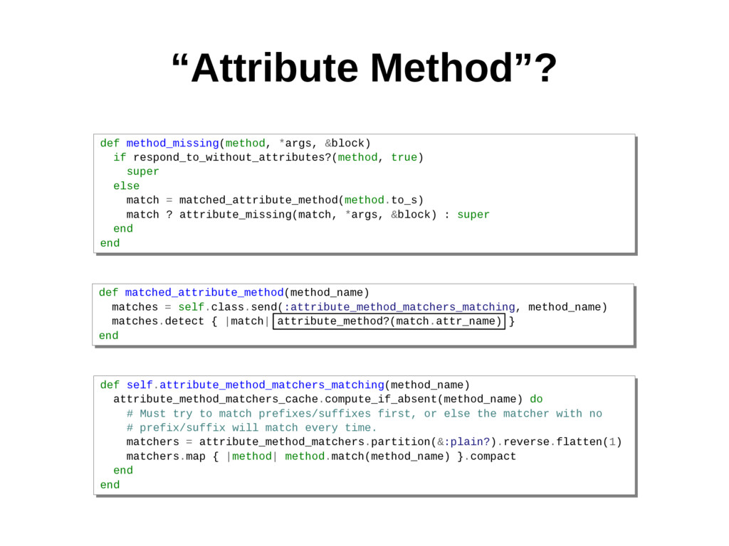 """Attribute Method""? def method_missing(method, ..."