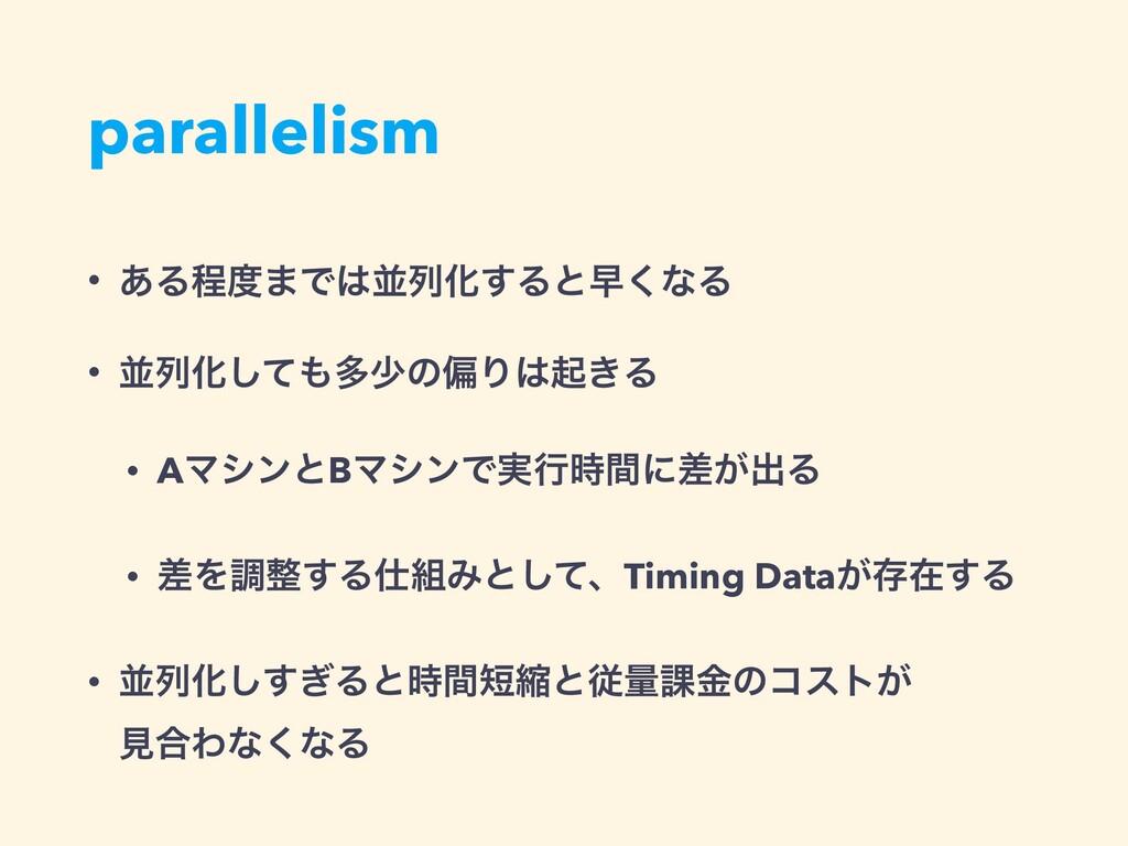 parallelism • ͋Δఔ·ͰฒྻԽ͢Δͱૣ͘ͳΔ • ฒྻԽͯ͠ଟগͷภΓى...