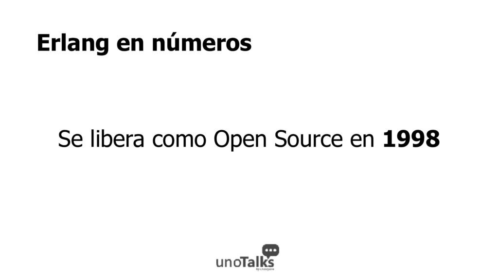 Erlang en números Se libera como Open Source en...