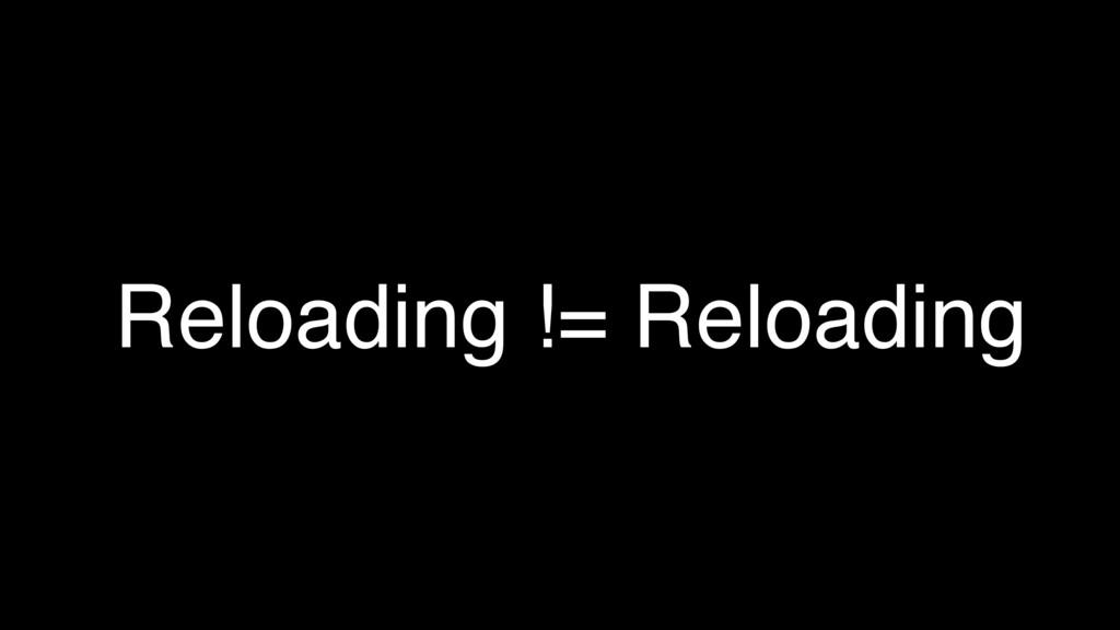Reloading != Reloading