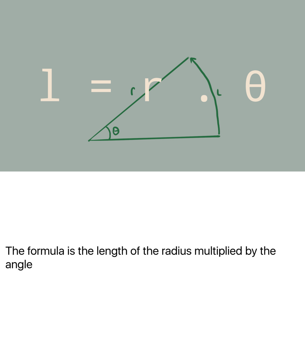 The formula is the length of the radius multipl...