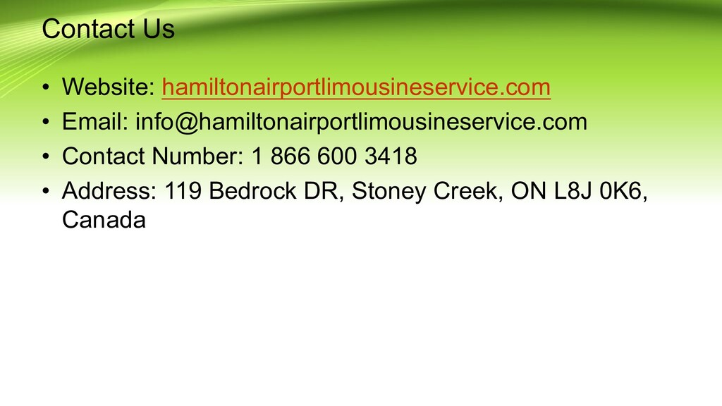 Contact Us • Website: hamiltonairportlimousines...