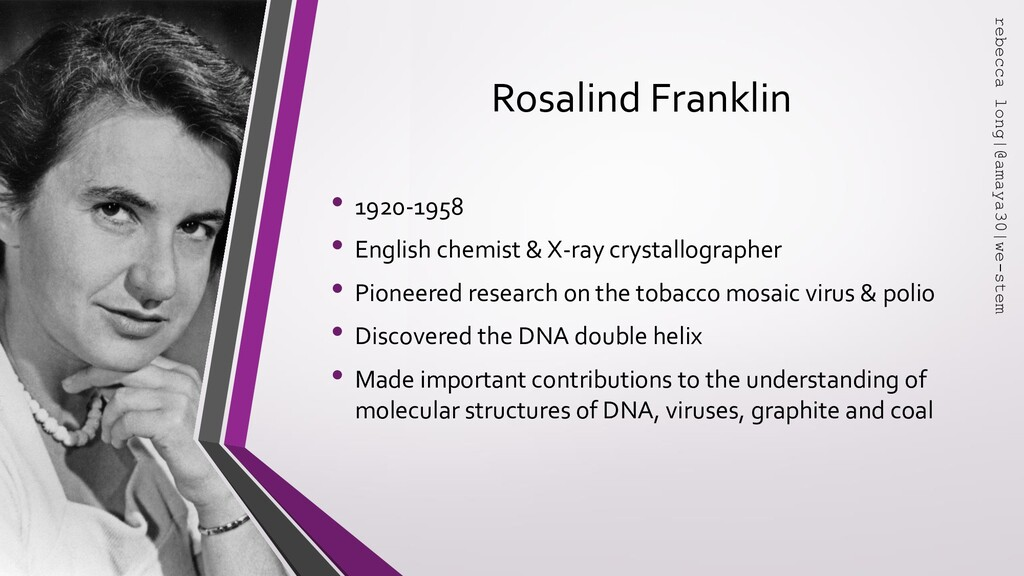 Rosalind Franklin • 1920-1958 • English chemist...