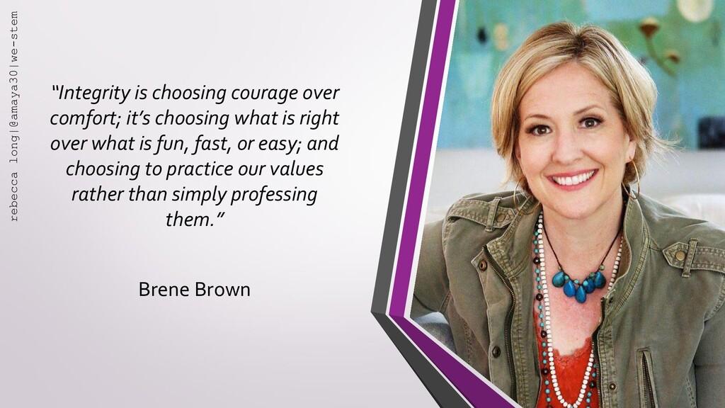 """""""Integrity is choosing courage over comfort; it..."""