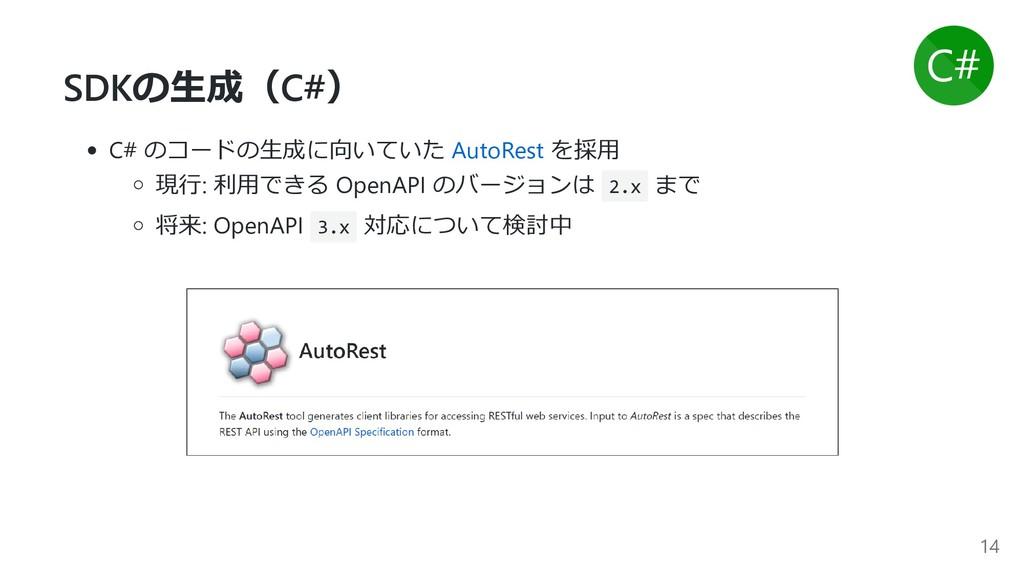 SDKの⽣成(C#) C# のコードの⽣成に向いていた AutoRest を採⽤ 現⾏: 利⽤...