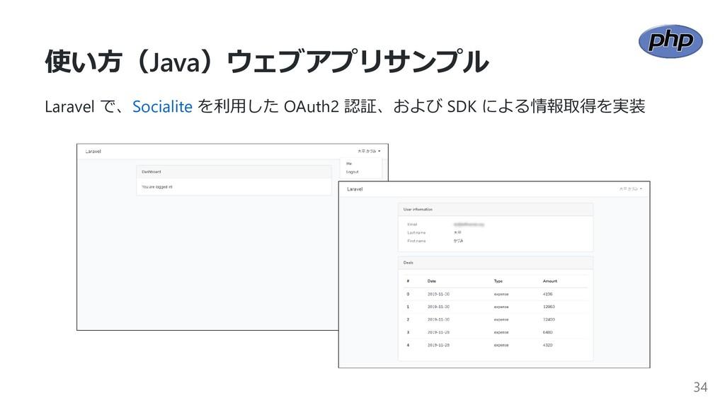 使い⽅(Java)ウェブアプリサンプル Laravel で、Socialite を利⽤した O...