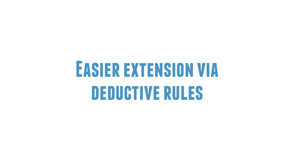 Easier extension via deductive rules