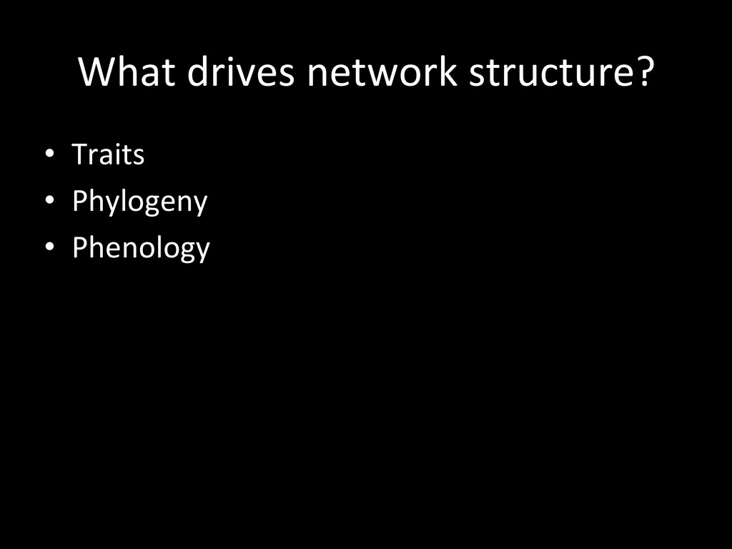 What drives network structure?  • ...