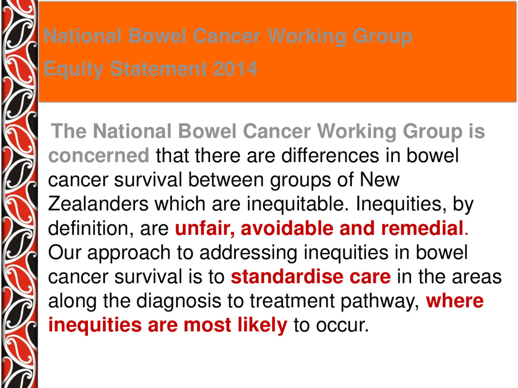 The National Bowel Cancer Working Group is conc...
