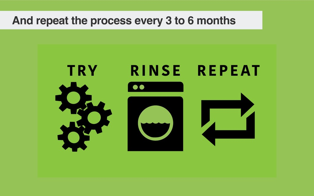 And repeat the process every 3 to 6 months