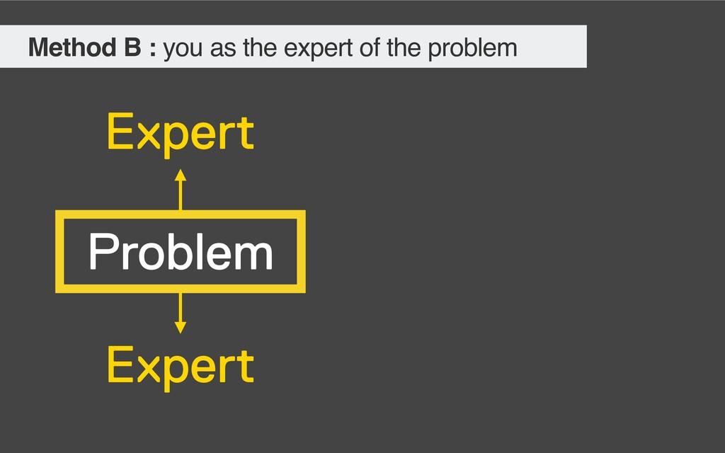 Problem Expert Expert Method B : you as the exp...