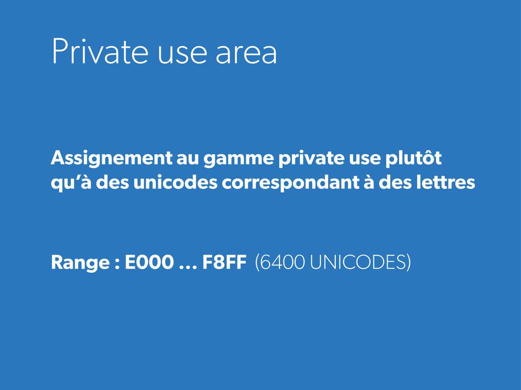 Private use area Assignement au gamme private u...