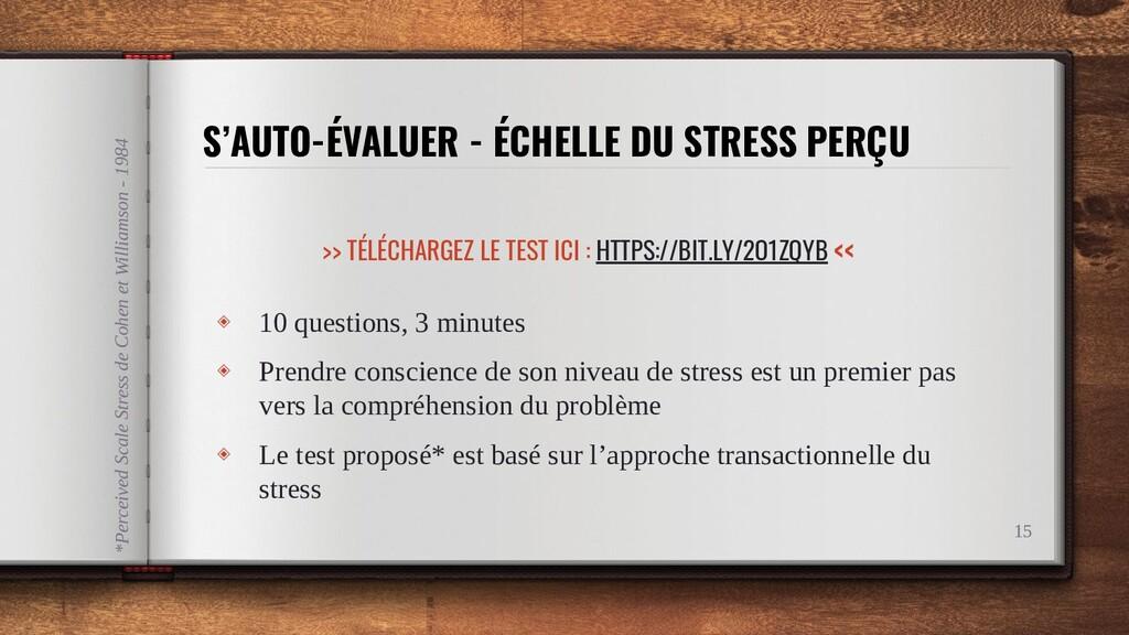 S'AUTO-ÉVALUER - ÉCHELLE DU STRESS PERÇU 15 ◈ 1...