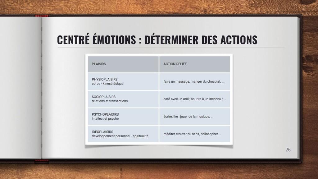 CENTRÉ ÉMOTIONS : DÉTERMINER DES ACTIONS 26