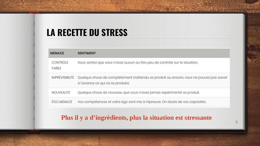 LA RECETTE DU STRESS 9 Plus il y a d'ingrédient...