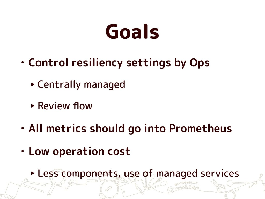 Goals • Control resiliency settings by Ops ‣ Ce...