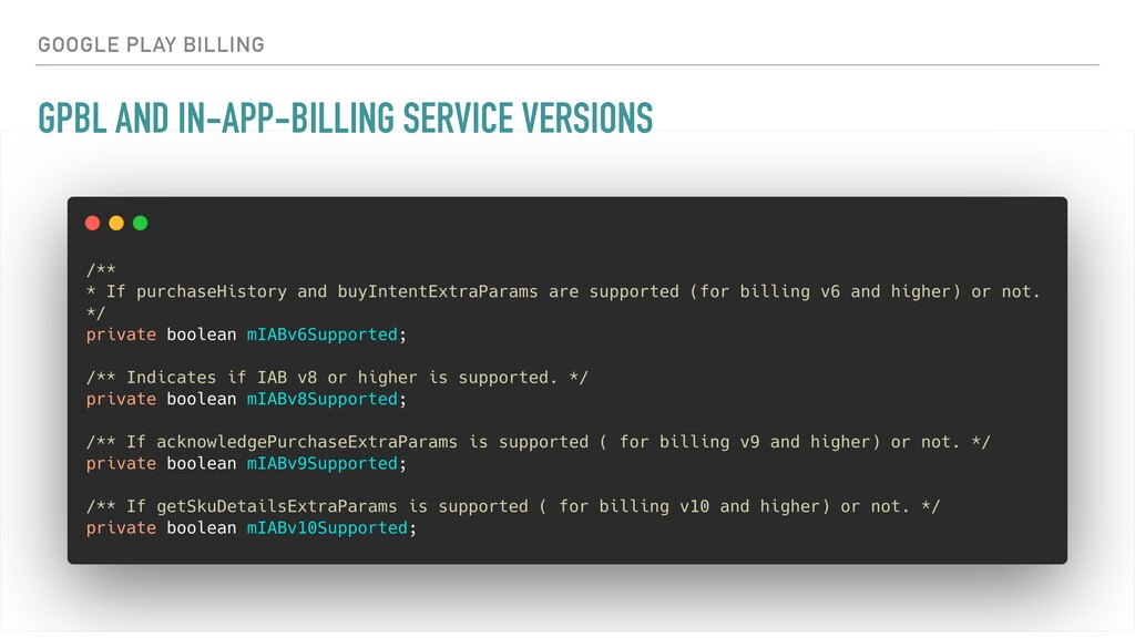 GPBL AND IN-APP-BILLING SERVICE VERSIONS GOOGLE...