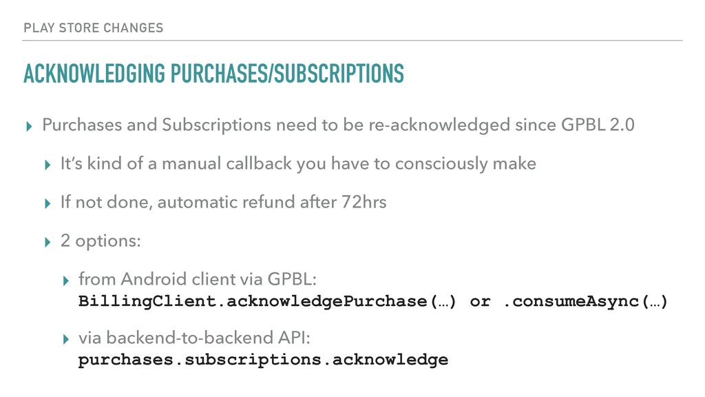 ACKNOWLEDGING PURCHASES/SUBSCRIPTIONS ▸ Purchas...