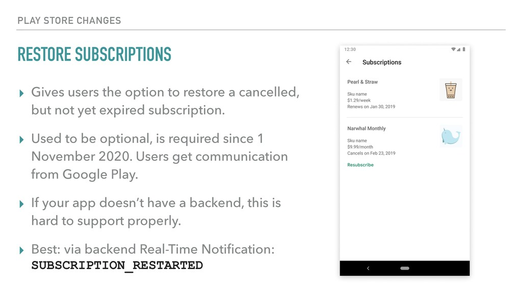 RESTORE SUBSCRIPTIONS ▸ Gives users the option ...
