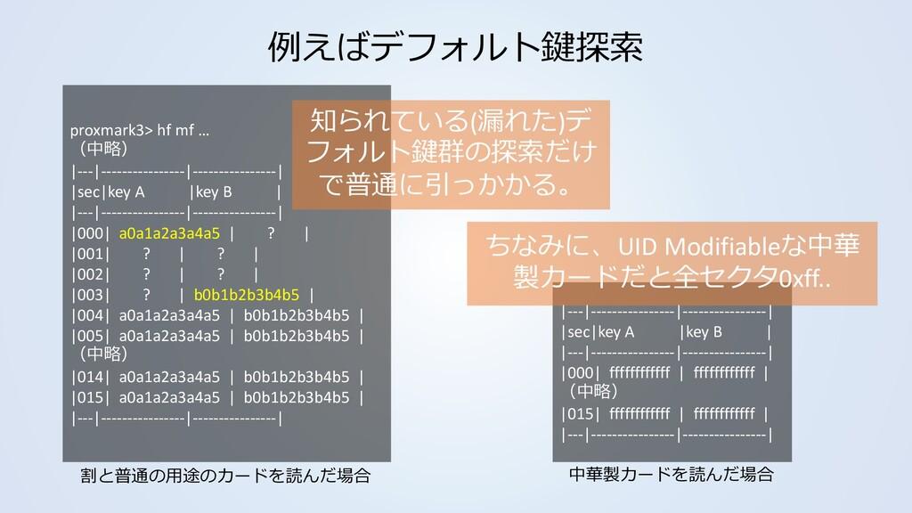 例えばデフォルト鍵探索 proxmark3> hf mf … (中略) |---|------...