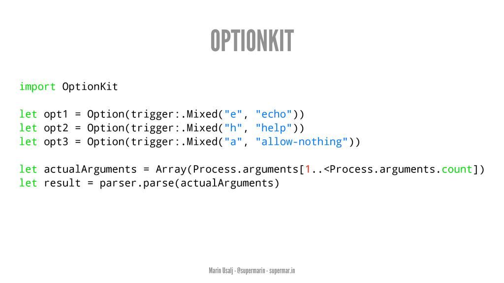 OPTIONKIT import OptionKit let opt1 = Option(tr...