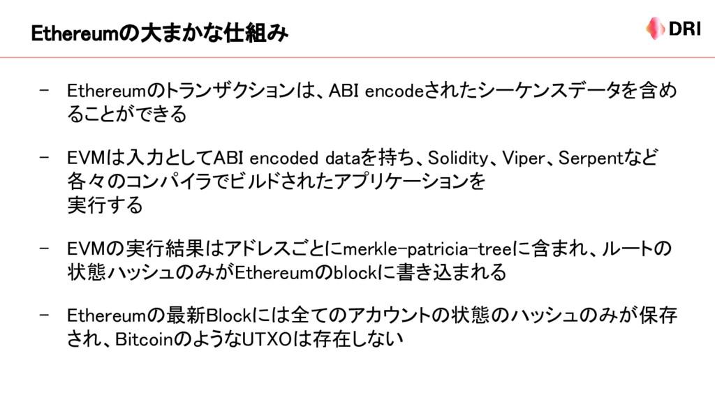 - Ethereumのトランザクションは、ABI encodeされたシーケンスデータを含め る...