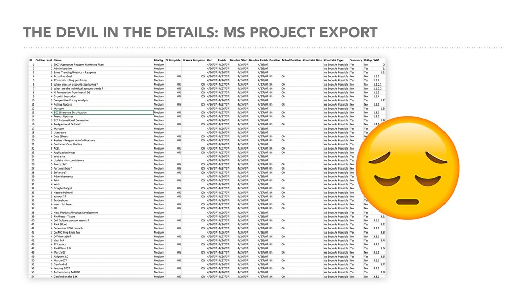 THE DEVIL IN THE DETAILS: MS PROJECT EXPORT