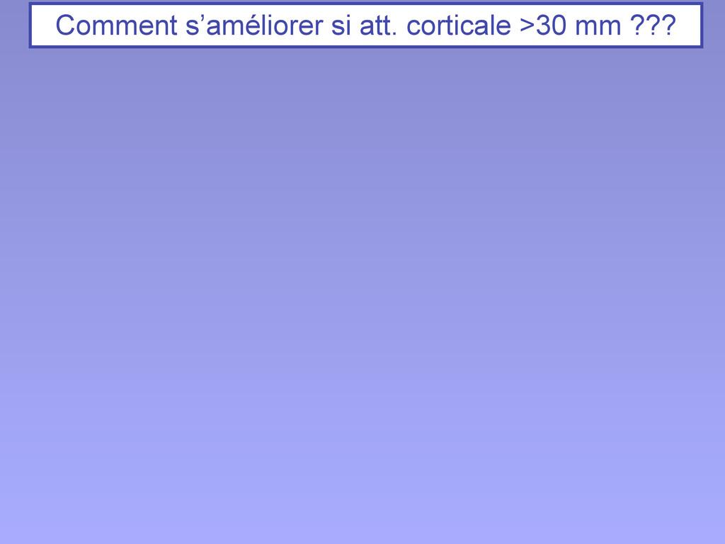 Comment s'améliorer si att. corticale >30 mm ???