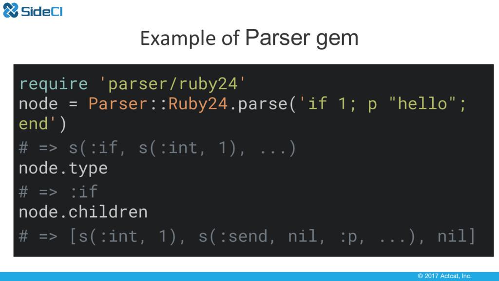 © 2017 Actcat, Inc. Example of Parser gem requi...