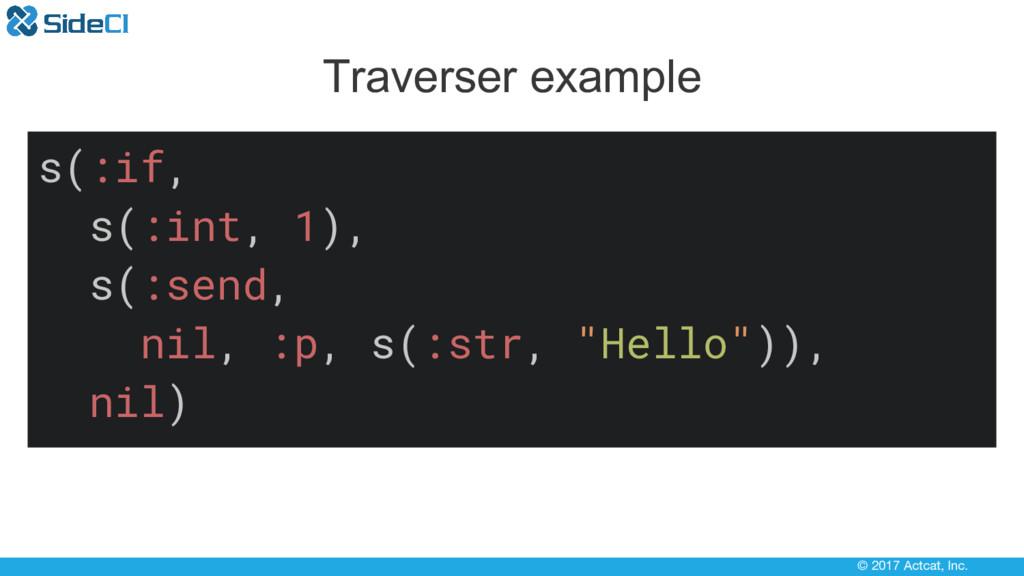 © 2017 Actcat, Inc. Traverser example s(:if, s(...