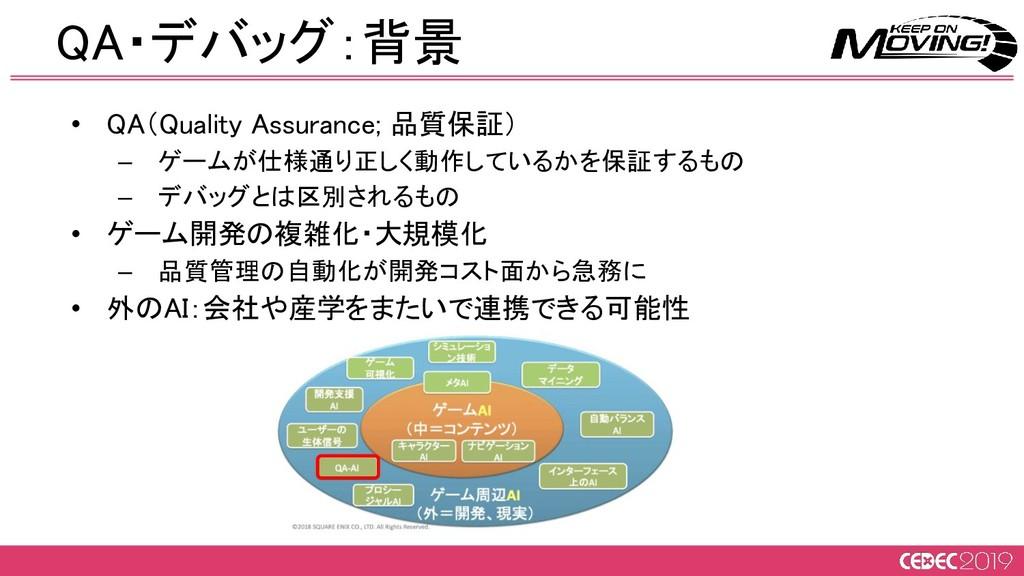 QA・デバッグ:背景 • QA(Quality Assurance; 品質保証) – ゲー...