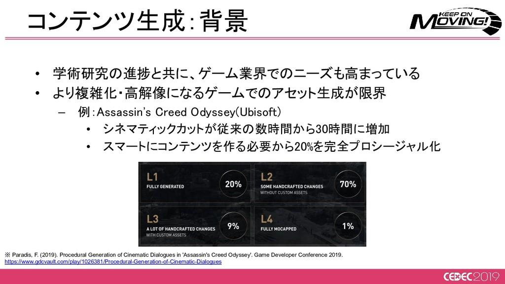 • 学術研究の進捗と共に、ゲーム業界でのニーズも高まっている • より複雑化・高解像になるゲ...