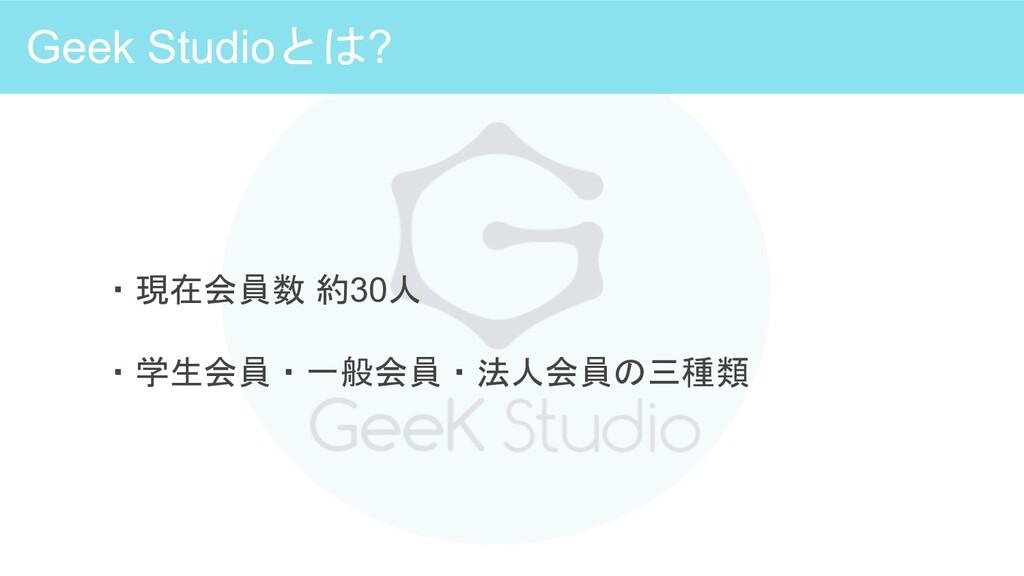 Geek Studioとは? ・現在会員数 約30人 ・学生会員・一般会員・法人会員の三種類