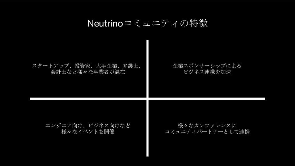 Neutrinoコミュニティの特徴 スタートアップ、投資家、大手企業、弁護士、 会計士など様々...