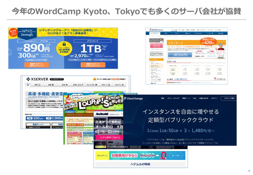 今年のWordCamp Kyoto、Tokyoでも多くのサーバ会社が協賛 4