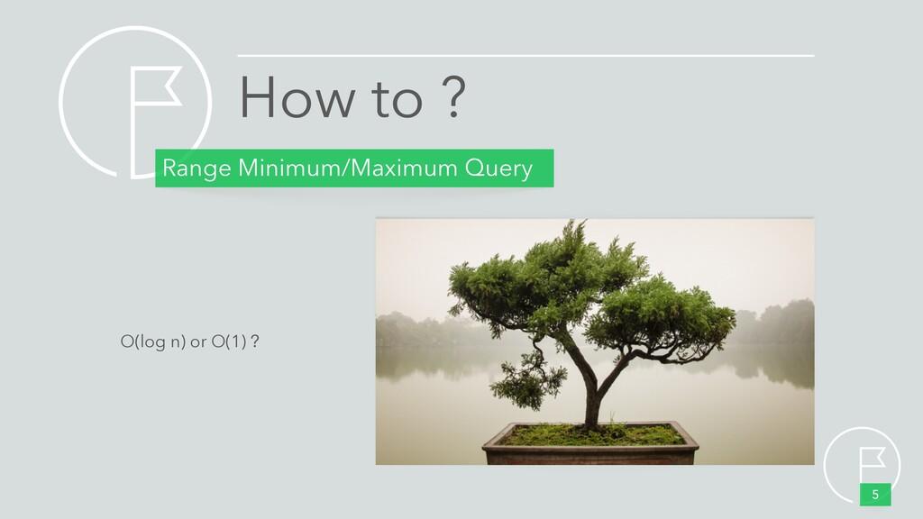 How to ? Range Minimum/Maximum Query 5 O(log n)...
