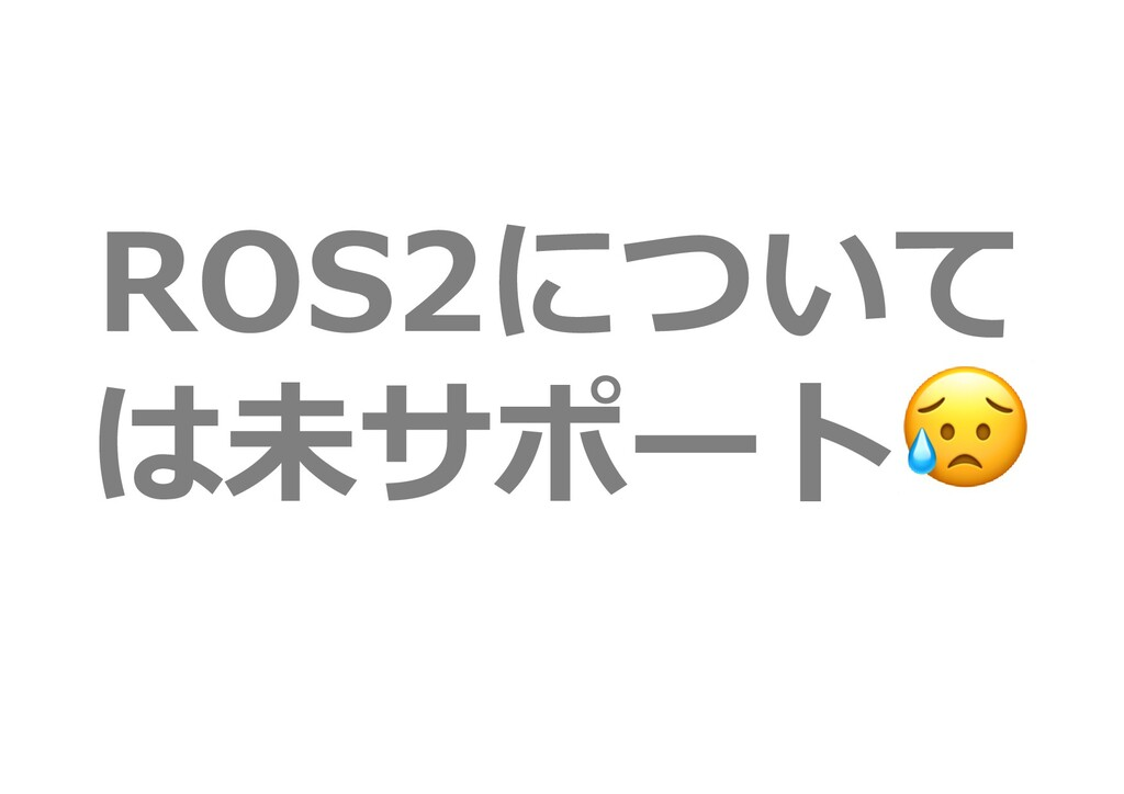 ROS2について は未サポート😥