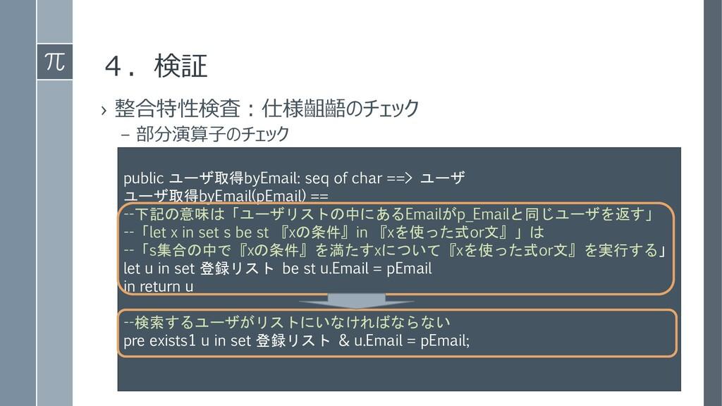 4.検証 › 整合特性検査:仕様齟齬のチェック – 部分演算子のチェック public ユーザ...