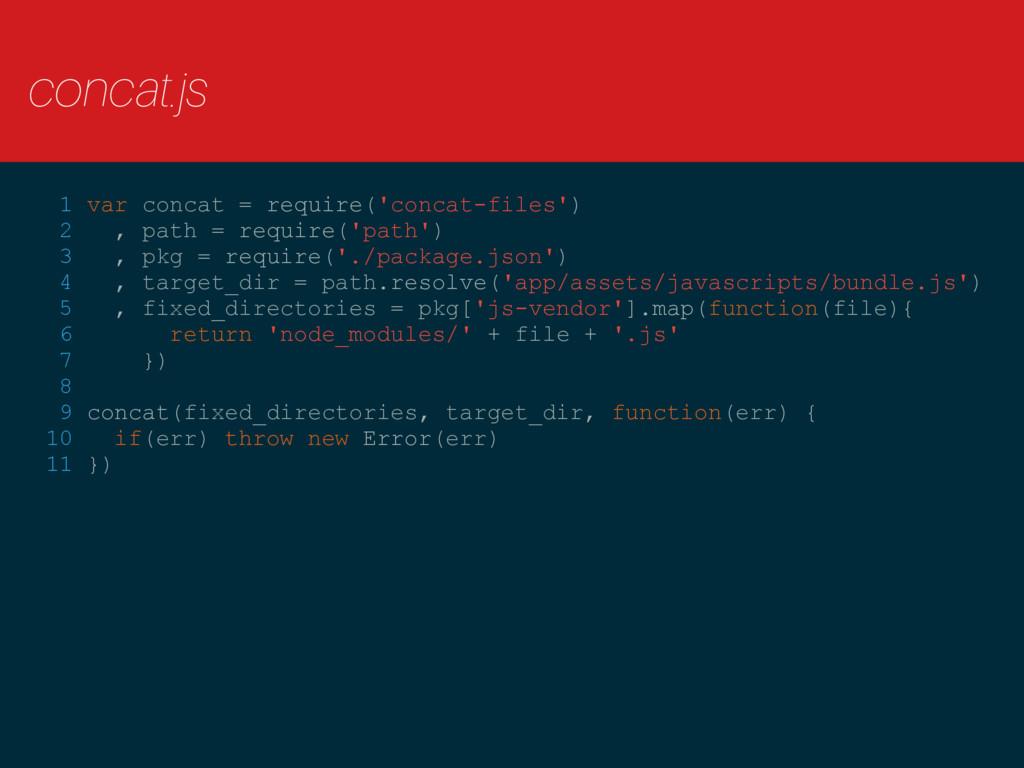 concat.js  1 var concat = require('concat-file...